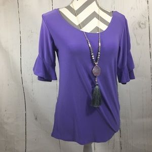 New Purple Stretchy Cascading Sleeve Long Cut Top